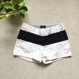 J. Crew white and navy bold stripe chino shorts